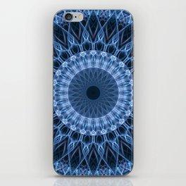 Blue glowing mandala iPhone Skin