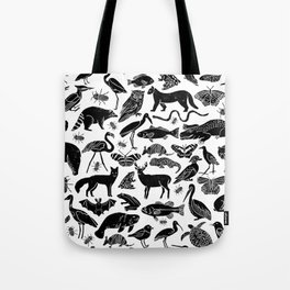Linocut animals nature inspired printmaking black and white pattern nursery kids decor Tote Bag