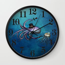 Underwater Love // octopus jellyfish Wall Clock