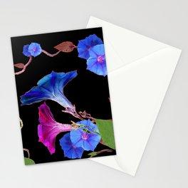 Black  Color Blue Morning Glory Art Design Pattern Stationery Cards