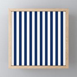 Navy and White Small Even Stripes Framed Mini Art Print