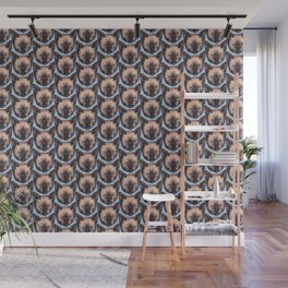 feline in blue pattern Wall Mural