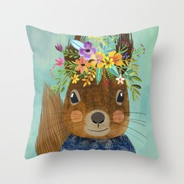 Squirrel with floral crown Throw Pillow