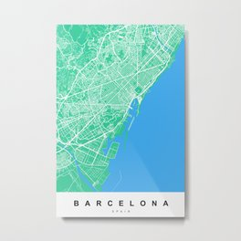 Barcelona Map | Spain | Green & Blue Colors Metal Print