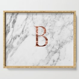 Monogram rose gold marble B Serving Tray
