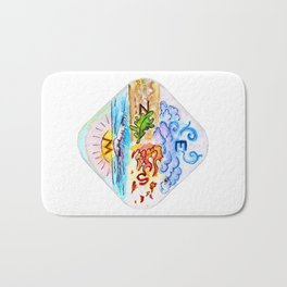 The Four Directions and Four Elements Bath Mat