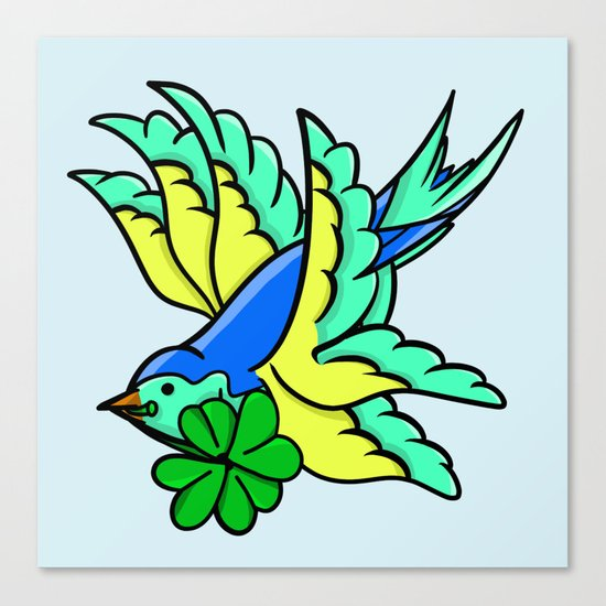 Swallow With Lucky Four Leaf Clover Canvas Print