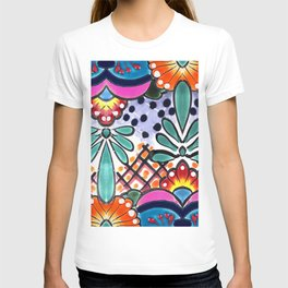 Colorful Talavera, Pink Accent, Large, Mexican Tile Design T-shirt
