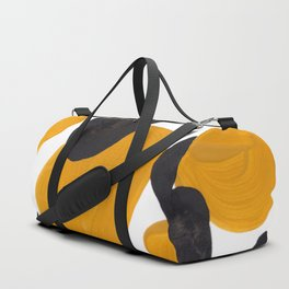 Mid Century Abstract Black & Yellow Fun Pattern Floating Mustard Bubbles Cheetah Print Duffle Bag