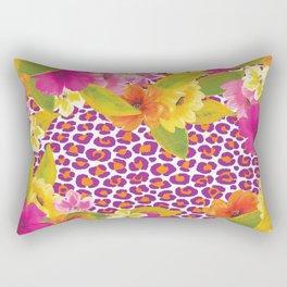 Floral Leopard  Rectangular Pillow