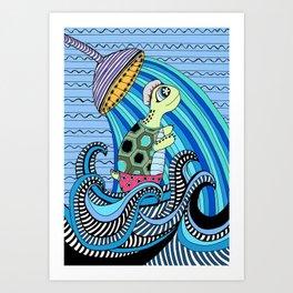 Dylan shower time Art Print