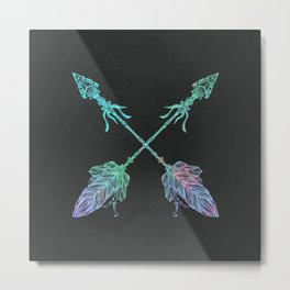 Tribals Arrows Turquoise on Gray Black Metal Print