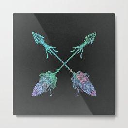 Tribals Arrows Turquoise on Gray Black Metal Print