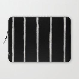 Skinny Strokes Gapped Vertical Off White on Black Laptop Sleeve
