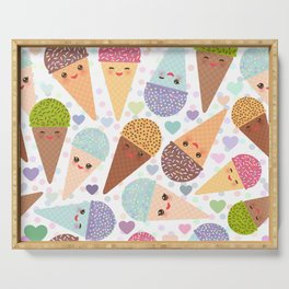 Kawaii funny Ice cream waffle cone, with pink cheeks and winking eyes Serving Tray