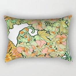 Romance in Paris, Art Nouveau Floral Nostalgia Rectangular Pillow