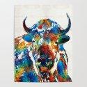 Colorful Buffalo Art - Sacred - By Sharon Cummings by sharoncummings