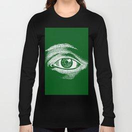 1961 Vintage Eye Drawing Green Long Sleeve T-shirt