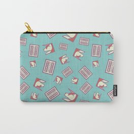Funny Ironic Advisory Unicorn Message Pattern Carry-All Pouch