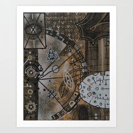 Gearbox in Rust and White Art Print