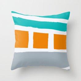 Weathered Beach Bungalows Throw Pillow