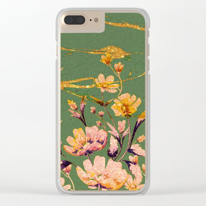 glittering pink flowers on green Clear iPhone Case