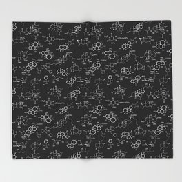 Molecules on Black Throw Blanket