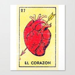 El Corazon Mexican Loteria Bingo Card Canvas Print