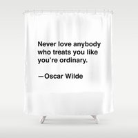 oscar wilde Shower Curtains featuring Oscar Wilde on Love by Quotevetica