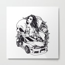 Tattoo GIRL with SKULL AND CAR - Snake Metal Print