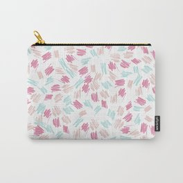 Modern abstract pastel pink green hand painted brushstrokes Carry-All Pouch