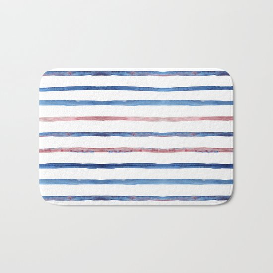 Watercolor pink and blue stripes Bath Mat