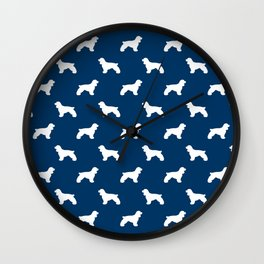 Cocker Spaniel navy and white minimal modern pet art dog silhouette dog breeds pattern Wall Clock