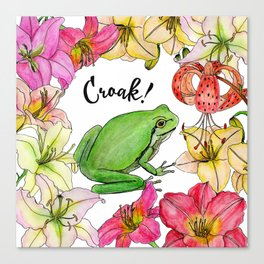 watercolor frog with lilies Canvas Print