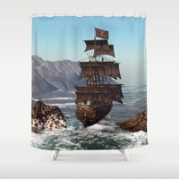 pirate ship Shower Curtains featuring Pirate Ship by Simone Gatterwe