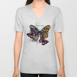 Fashion art print with colorful tropical butterly Unisex V-Neck