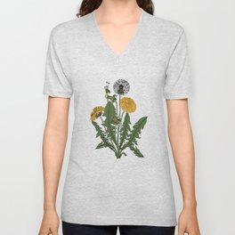 Vintage Botanical Style Dandelion Illustration Unisex V-Neck