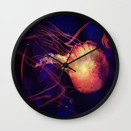 Jellyfish of the Blacklight Electro Rave Wall Clock