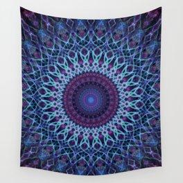 Mandala in dark and light blue tones Wall Tapestry