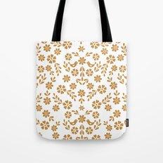 Golden floral symmetric birds heart Tote Bag