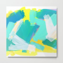 Be Kind, Be OK - mint modern mint abstract painting pastel colors Metal Print