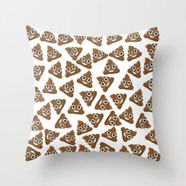 Pile of Poop Smiling Poo Emoji Pattern Throw Pillow