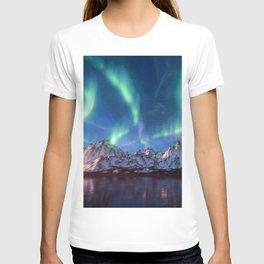 Aurora Borealis with Snow T-shirt