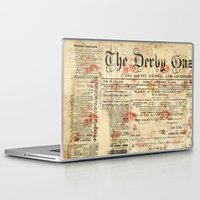 newspaper Laptop & iPad Skins featuring Vintage newspaper grunge by MJ'designs - Marosée Créations