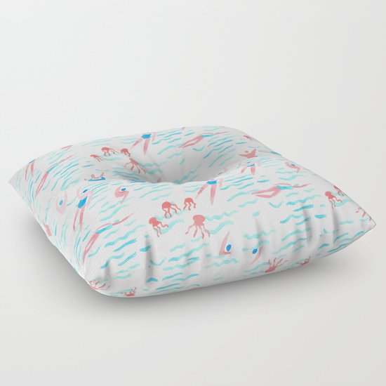 swimmers in the sea pattern Floor Pillow by Anyuka Society6