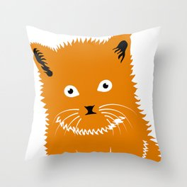 Cat Lover Art Cute Orange Kitten Throw Pillow