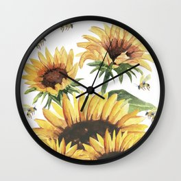 Sunflowers and Honey Bees Wall Clock