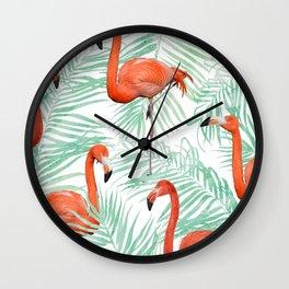 Flamingo + Mint Palm #society6 #decor #buyart Wall Clock