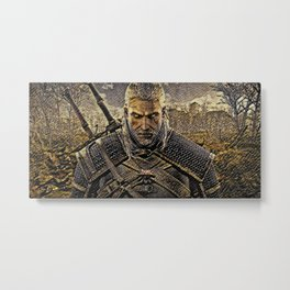 The Witcher Geralt Artistic Illustration Snake Style Metal Print