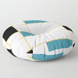 MidCentury Modern Art Aqua Gold Black Floor Pillow